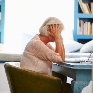 Woman anxious about retirement